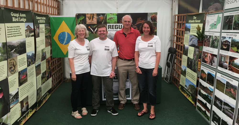 The REGUA UK Team at Birdfair 2019, from left: Sue Healey, Lee Dingain, Alan Martin and Rachel Walls (© Dan Bradbury)